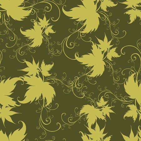 twirled: Twirled motivo floreale verde senza soluzione di continuit�, con foglie (dal mio grande  Vettoriali