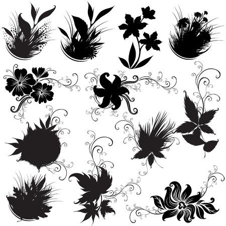 Set of black rose flower design elements Stock Vector - 6175650