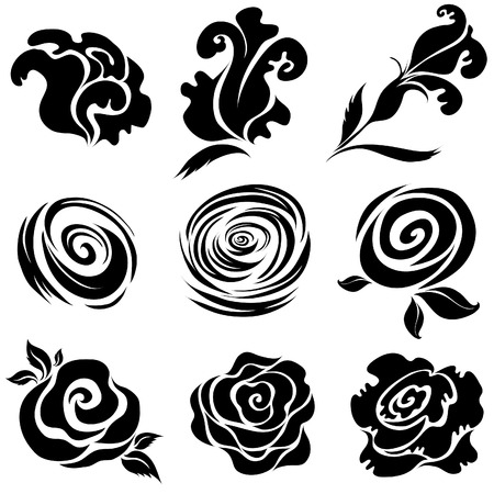 Set of black rose flower design elements (from my big  Stock Vector - 6175641