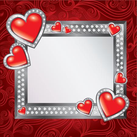 saint valentines: Vettore sfondo cornice con cuori gioiello - giorno di San Valentino