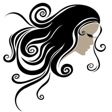 melancholy: Vector decoratieve portret van een vrouw met lang haar (van mijn grote  Stock Illustratie