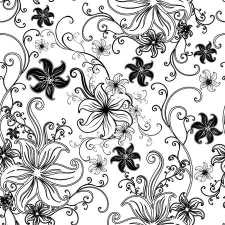 twirled: Vector Seamless floral twirled pattern  (From my big
