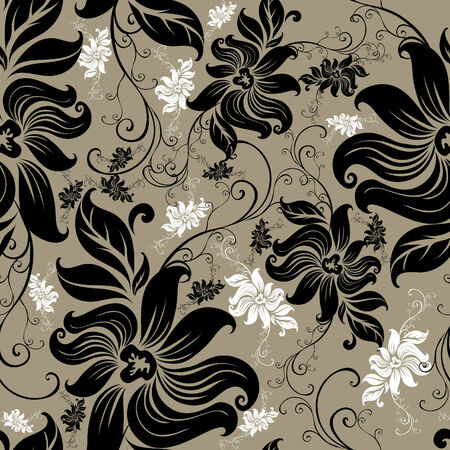 Vector Seamless floral twirled pattern  (From my big