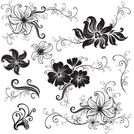 orchid tree: Set of black floral design elements (from my  Illustration