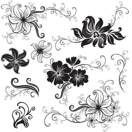 brie: Set van zwarte floral design elementen (uit mijn