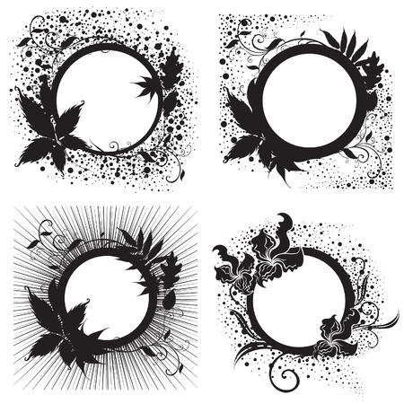 Set of Vector Floral vintage black frames (From my  Stock Vector - 6199122