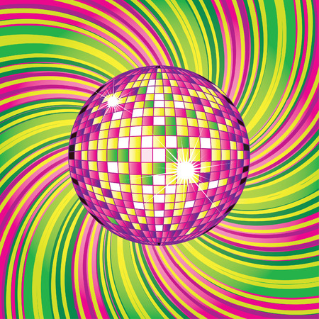 discoball: background - CD Cover design with disco-ball Illustration