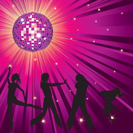 mirrorball: background - design with dancing people, disco-ball and glitters Illustration