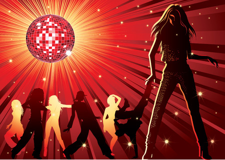 вал: background - design with dancing people, disco-ball and glitters Иллюстрация
