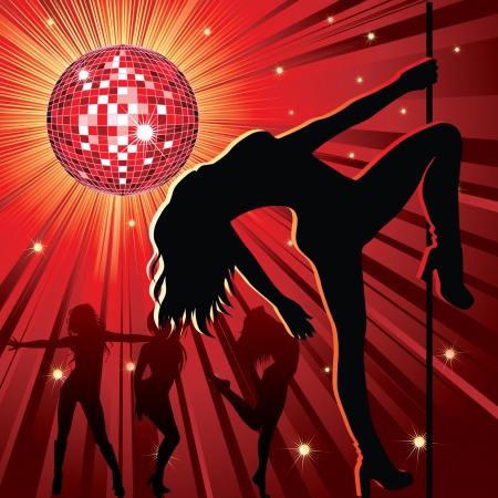 strips: background - design with woman stripping, disco-ball and glitters