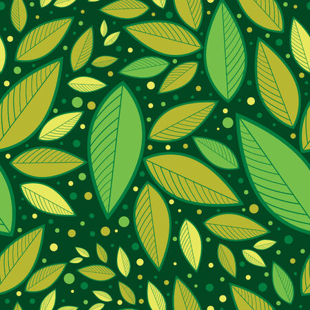 Seamless green floral pattern with leafs (From my big Stock Vector - 6432274