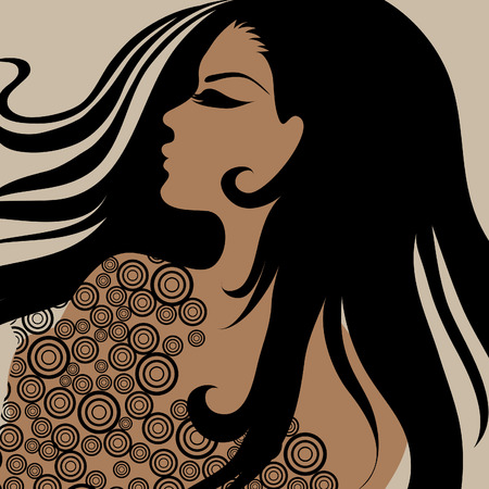 hatchwork: Vector closeup portrait of a girl with beautiful hair in ornate dress (from my big