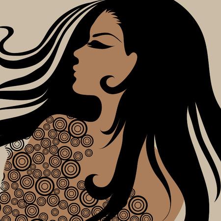 Vektor Closeup Portrait eines Mädchens mit schönes Haar in verzieren Kleid (von mein großes