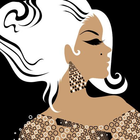 hairstyling: portarretrato retrato de una ni�a con un cabello hermoso vestido ornamentado (desde mi gran