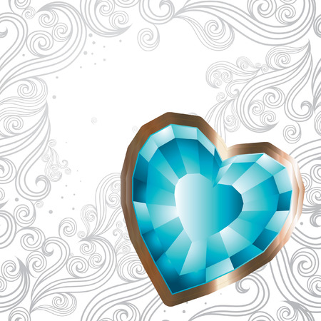 background with jewel hearts - Saint Valentines Day Vector