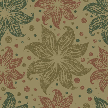 Seamless vintage grunge floral pattern with lilly (From my big  Vector