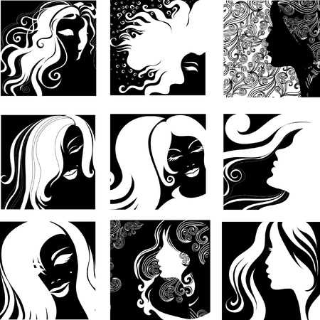 Vector set of closeup silhouette portrait of beautiful woman with long hair (From my big Stock Vector - 6440434