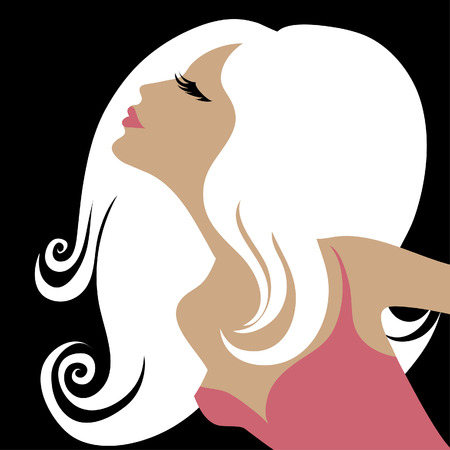 Closeup decorative vintage blond woman with beautiful hair