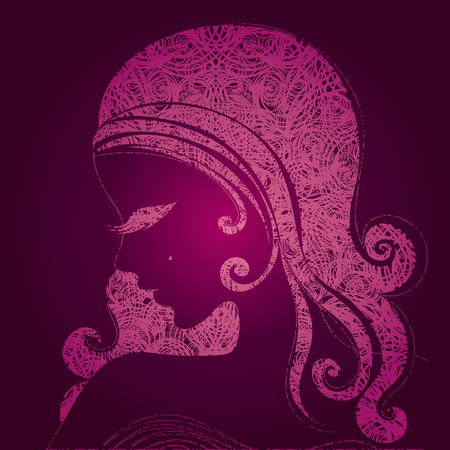 grunge pink illustration of a girl with beautiful hair (from my big  Vector