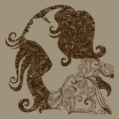 melancholy: Grunge illustratie van een meisje met mooie haren (van mijn grote