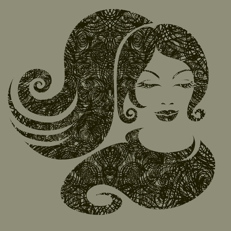 hatchwork: grunge illustration of a girl with beautiful hair (from my big  Illustration
