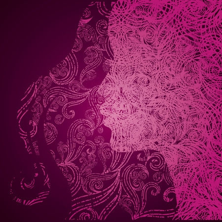 hatchwork: grunge pink illustration of a girl with beautiful hair (from my big