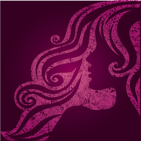 blonde curly hair: Vector grunge pink illustration of a girl with beautiful hair (from my big  Illustration