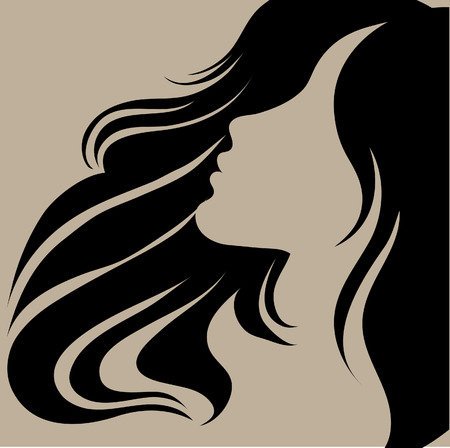 woman profile face: Vector portrait of a girl with beautiful hair (from my big