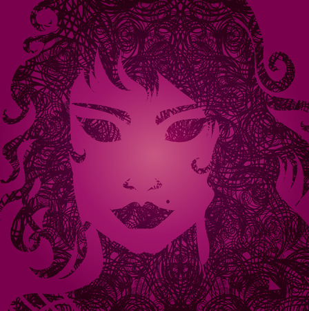 hatchwork: Vector grunge pink illustration of a girl with beautiful hair (from my big  Illustration