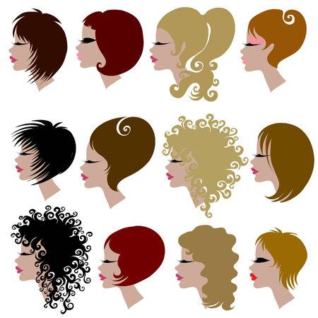 taglio capelli: set di capelli alla moda per donna (dal mio grande per lo styling  Vettoriali