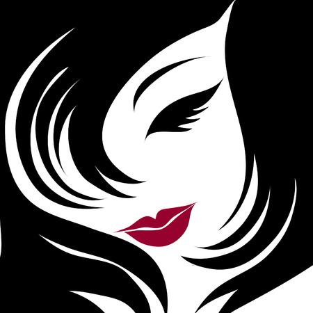 melancholy: CloseUp portret van een meisje met mooie haren  Stock Illustratie