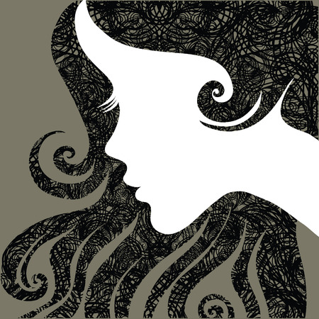 grunge closeup portrait of a girl with beautiful hair Stock Vector - 6728165