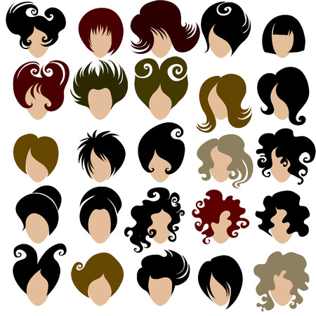 set of trendy hair styling for woman (from my big Stock Vector - 6728142