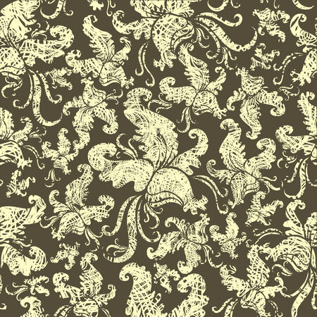 Seamless vintage grunge floral pattern with orchid (From my big  Vector