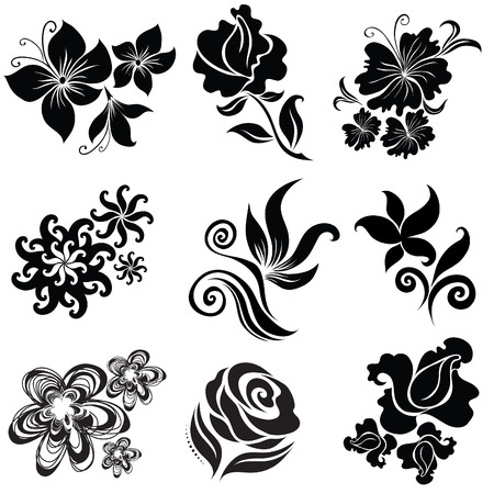 Set of black flower design elements (From my big  Stock Vector - 6728156