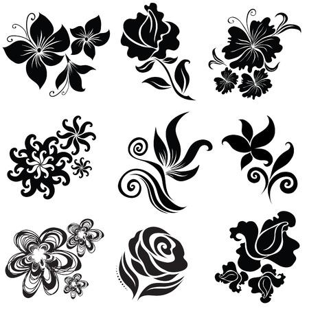 brie: Zwarte bloem ontwerp elementen (van mijn grote verzameling