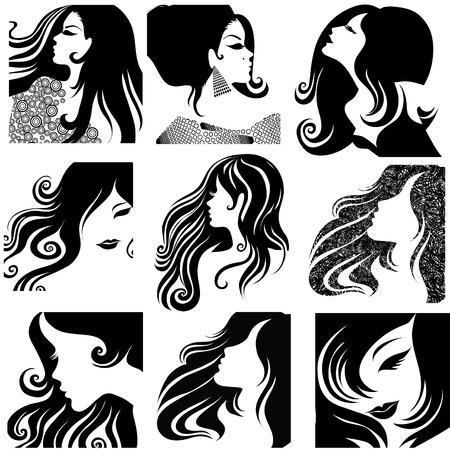set di closeup siluetta ritratto di donna bella, con capelli lunghi  Vettoriali
