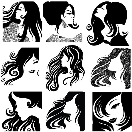 black hair: set of closeup silhouette portrait of beautiful woman with long hair