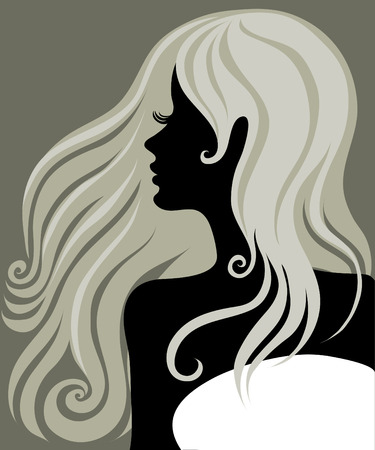 closeup portrait of a blond girl with beautiful hair  Vector