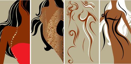 set of closeup silhouette of slim beautiful woman Vector