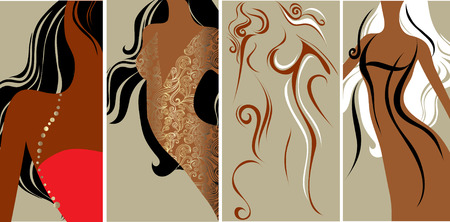 amative:  set of closeup silhouette of slim beautiful woman Illustration