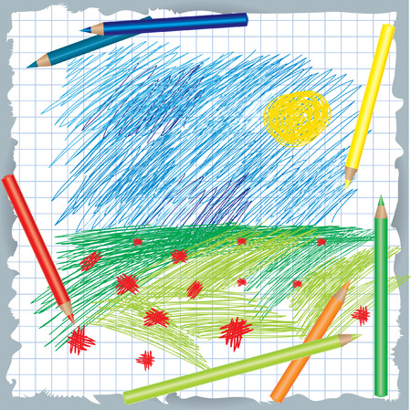 colorful background with drawing and color pencils Vector