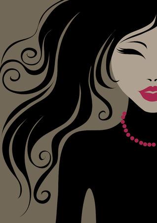 mujeres tristes: portarretrato retrato de una ni�a con cabello hermoso  Vectores