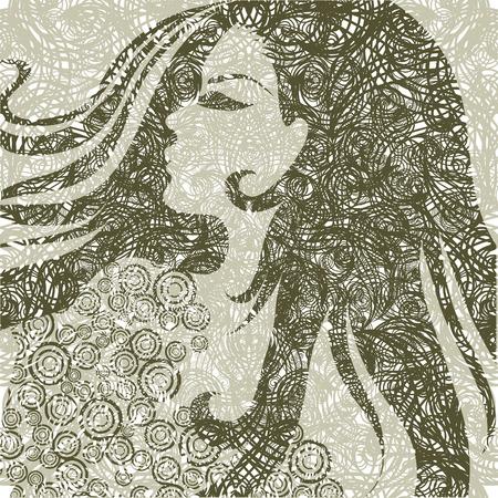 melancholy: Grunge closeup portret van een meisje met mooie haren