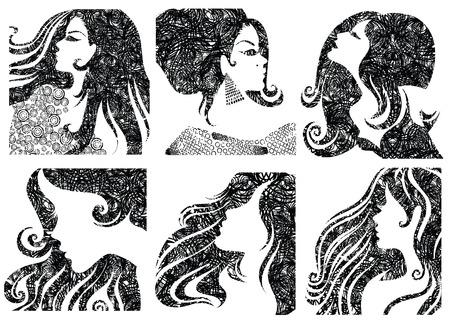 melancholy: set grunge closeup silhouet portretten van prachtige vrouw met lange draad (van mijn grote  Stock Illustratie