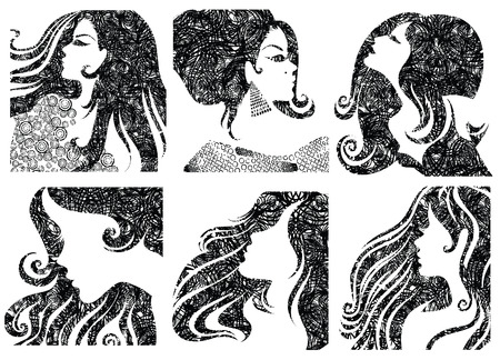 hair style set: set of grunge closeup silhouette portraits of beautiful woman with long hair (From my big  Illustration
