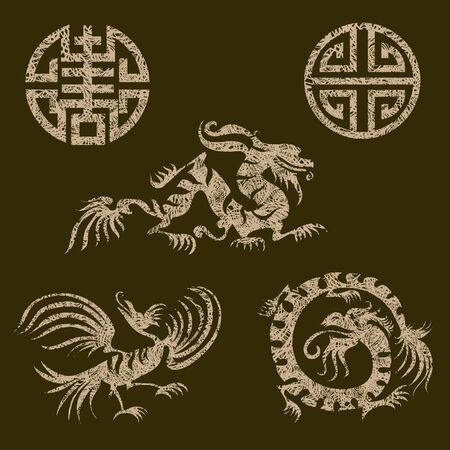 grunge set of japanese design elements Illustration