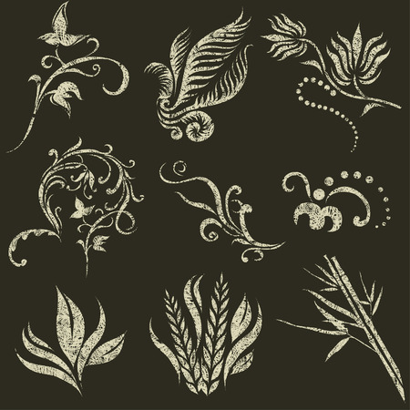 ferns and orchids: set of grunge leafs and flower design elements (from my big