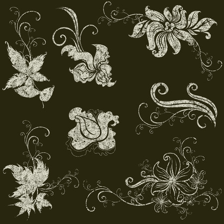 set of grunge leafs and flower design elements (from my big Stock Vector - 6960056