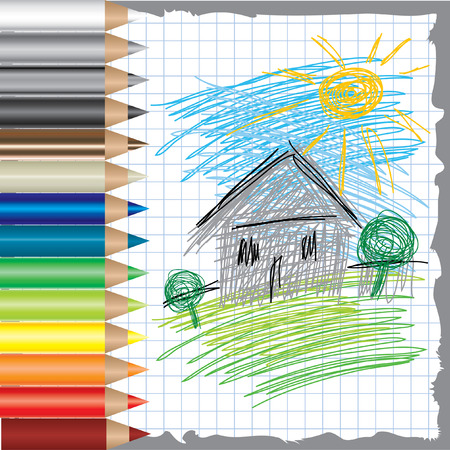 colorful background with drawing of house and color pencils Vector